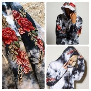 da8264c1 Civil Tops | Red Roses Embroidered Pullover Hoodie In Marble | Poshmark